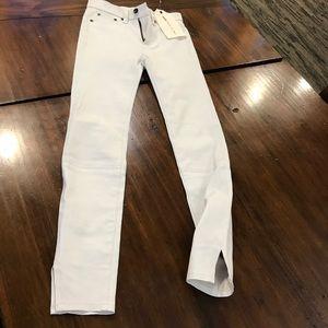 "Rag & Bone lamb Leather Size 23 White 10"" Capri"